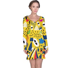 Yellow Eye Animals Cat Long Sleeve Nightdress