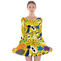 Yellow Eye Animals Cat Long Sleeve Skater Dress