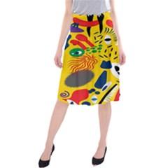 Yellow Eye Animals Cat Midi Beach Skirt