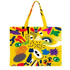 Yellow Eye Animals Cat Zipper Large Tote Bag