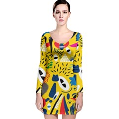Yellow Eye Animals Cat Long Sleeve Velvet Bodycon Dress