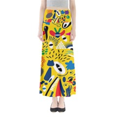 Yellow Eye Animals Cat Maxi Skirts
