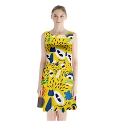 Yellow Eye Animals Cat Sleeveless Chiffon Waist Tie Dress