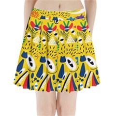 Yellow Eye Animals Cat Pleated Mini Skirt