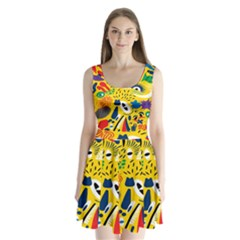 Yellow Eye Animals Cat Split Back Mini Dress