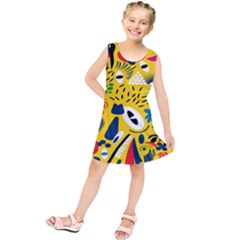 Yellow Eye Animals Cat Kids  Tunic Dress