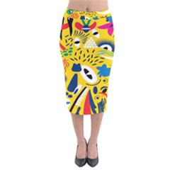 Yellow Eye Animals Cat Velvet Midi Pencil Skirt
