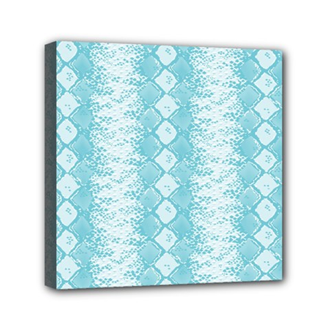 Snake Skin Blue Chevron Wave Mini Canvas 6  x 6