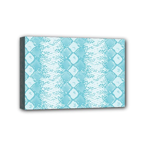 Snake Skin Blue Chevron Wave Mini Canvas 6  x 4