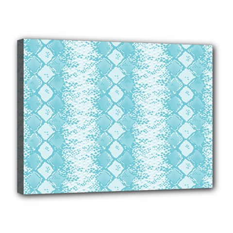 Snake Skin Blue Chevron Wave Canvas 16  x 12