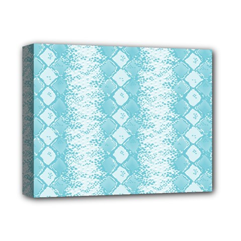 Snake Skin Blue Chevron Wave Deluxe Canvas 14  x 11