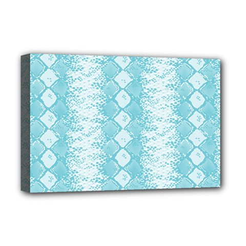 Snake Skin Blue Chevron Wave Deluxe Canvas 18  x 12