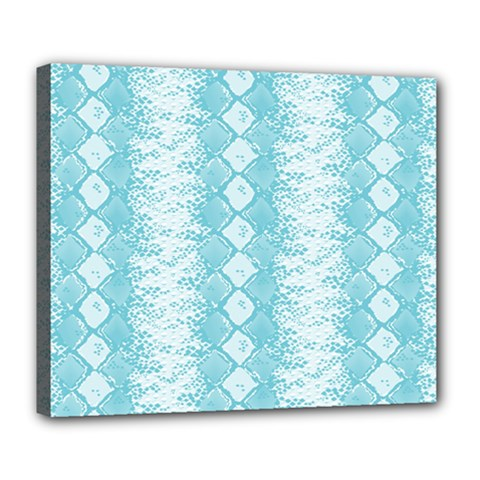 Snake Skin Blue Chevron Wave Deluxe Canvas 24  x 20