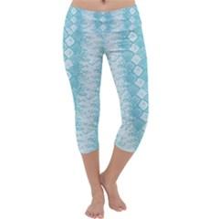 Snake Skin Blue Chevron Wave Capri Yoga Leggings