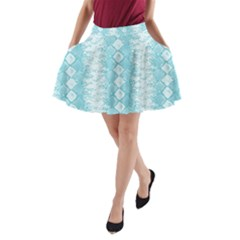 Snake Skin Blue Chevron Wave A-Line Pocket Skirt