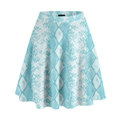 Snake Skin Blue Chevron Wave High Waist Skirt