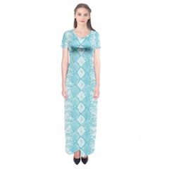 Snake Skin Blue Chevron Wave Short Sleeve Maxi Dress