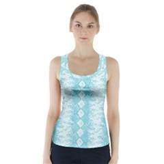 Snake Skin Blue Chevron Wave Racer Back Sports Top