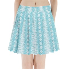 Snake Skin Blue Chevron Wave Pleated Mini Skirt