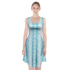Snake Skin Blue Chevron Wave Racerback Midi Dress