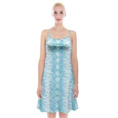 Snake Skin Blue Chevron Wave Spaghetti Strap Velvet Dress