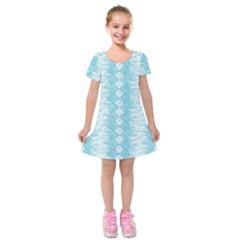 Snake Skin Blue Chevron Wave Kids  Short Sleeve Velvet Dress