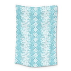 Snake Skin Blue Chevron Wave Small Tapestry