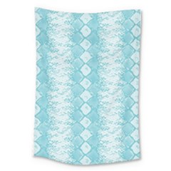 Snake Skin Blue Chevron Wave Large Tapestry