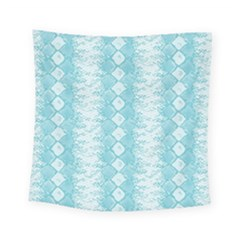 Snake Skin Blue Chevron Wave Square Tapestry (small)