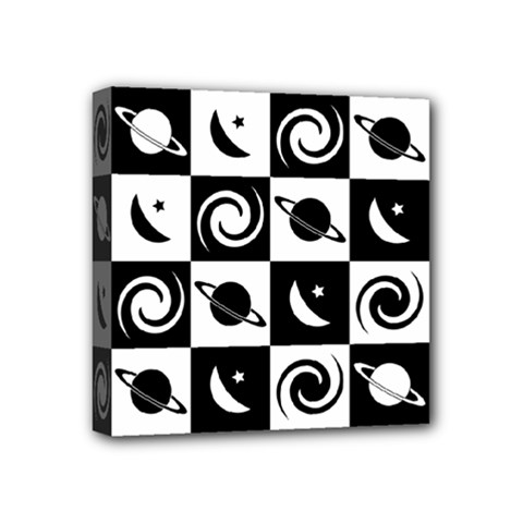 Space Month Saturnus Planet Star Hole Black White Mini Canvas 4  x 4