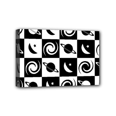 Space Month Saturnus Planet Star Hole Black White Mini Canvas 6  x 4