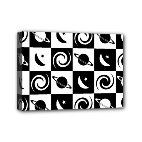 Space Month Saturnus Planet Star Hole Black White Mini Canvas 7  x 5