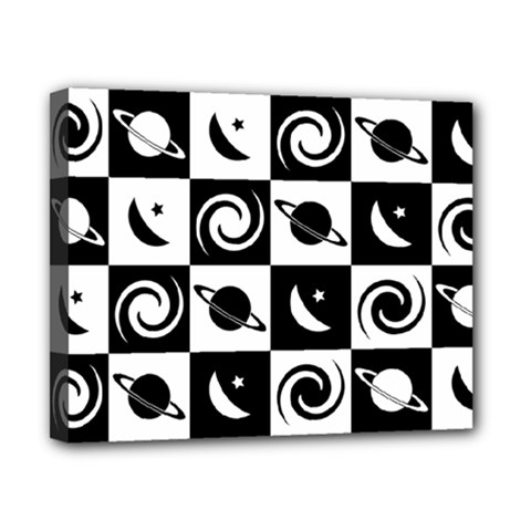 Space Month Saturnus Planet Star Hole Black White Canvas 10  x 8