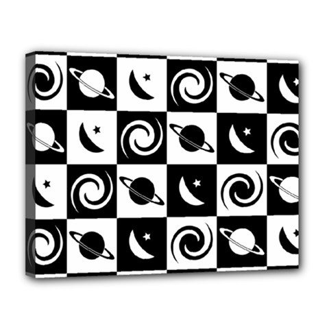 Space Month Saturnus Planet Star Hole Black White Canvas 14  x 11
