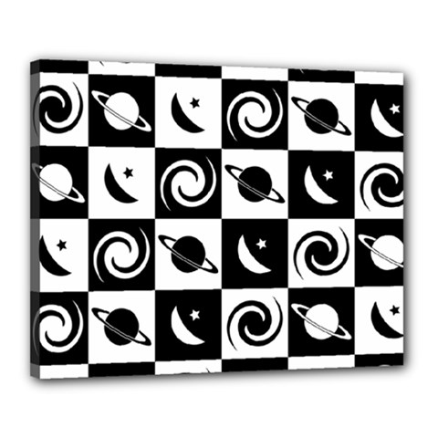 Space Month Saturnus Planet Star Hole Black White Canvas 20  x 16