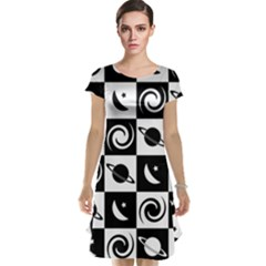 Space Month Saturnus Planet Star Hole Black White Cap Sleeve Nightdress