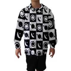 Space Month Saturnus Planet Star Hole Black White Hooded Wind Breaker (Kids)