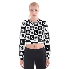 Space Month Saturnus Planet Star Hole Black White Women s Cropped Sweatshirt