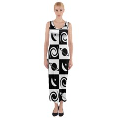 Space Month Saturnus Planet Star Hole Black White Fitted Maxi Dress