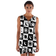 Space Month Saturnus Planet Star Hole Black White Wrap Front Bodycon Dress