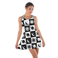 Space Month Saturnus Planet Star Hole Black White Cotton Racerback Dress