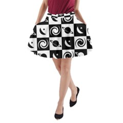 Space Month Saturnus Planet Star Hole Black White A-Line Pocket Skirt