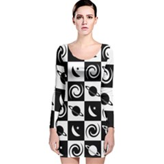 Space Month Saturnus Planet Star Hole Black White Long Sleeve Velvet Bodycon Dress