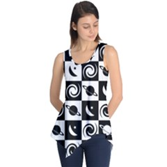 Space Month Saturnus Planet Star Hole Black White Sleeveless Tunic