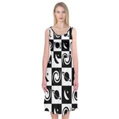 Space Month Saturnus Planet Star Hole Black White Midi Sleeveless Dress