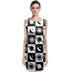 Space Month Saturnus Planet Star Hole Black White Classic Sleeveless Midi Dress