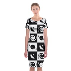 Space Month Saturnus Planet Star Hole Black White Classic Short Sleeve Midi Dress