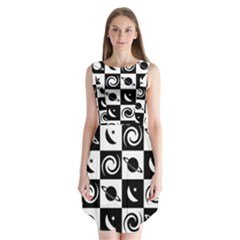 Space Month Saturnus Planet Star Hole Black White Sleeveless Chiffon Dress