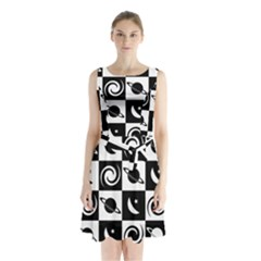 Space Month Saturnus Planet Star Hole Black White Sleeveless Chiffon Waist Tie Dress