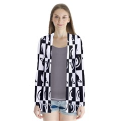 Space Month Saturnus Planet Star Hole Black White Cardigans
